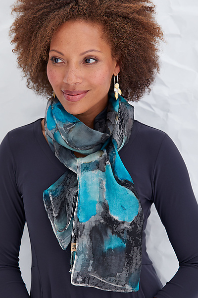 Hand Painted Project Scarf in Aqua