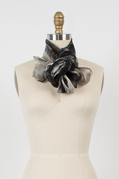 Hand Painted Project Scarf in Black/Gray/White