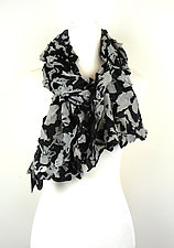 Velvet Large Flower Petal Print & Pleats Scarf in Ivory & Black by Yuh  Okano (Velvet Scarf)