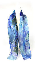 Blue Lotus Mini Floral Organza Scarf by Yuh Okano (Silk Scarf)