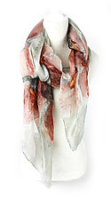 Floral Organza Scarf in Poppy Red & Dove by Yuh Okano (Silk Scarf)