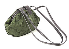 Shibori Dumpling Fabric Bag in Sage Green by Yuh  Okano (Polyester & Leather Purse)