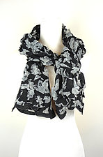 Large Flower Petal Print & Pleats Scarf in Black & Ivory by Yuh  Okano (Cotton Scarf)