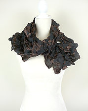Velvet large Flower Petal Print & Pleats Scarf in Cocoa & Black by Yuh  Okano (Velvet Scarf)