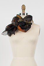 Hand Painted Project Scarf in Black/Gray/Orange by Yuh  Okano (Silk Scarf)