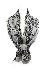 Flower Petal Print & Pleats Scarf in Gray & Black by Yuh Okano (Cotton Scarf)