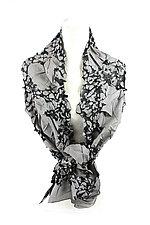 Flower Petal Print & Pleats Scarf in Gray & Black by Yuh Okano (Cotton Scarf)