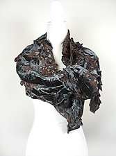 Velvet Flower Petal Print & Pleats Scarf in Blue Gray Dust by Yuh  Okano (Velvet Scarf)