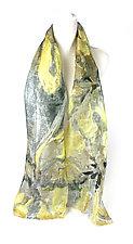 Mini Floral Organza Scarf in Astragalus Gold by Yuh Okano (Silk Scarf)
