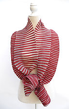Accordion Drape Pleats Scarf in Red & Ivory by Yuh Okano (Woven Scarf)