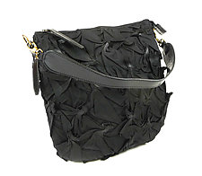 Flat Zipper Bubble Dot Bag in Black by Yuh  Okano (Shibori Purse)