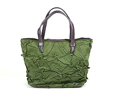 Toto Handbag in Sage Green by Yuh  Okano (Shibori Purse)