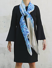Floral Organza Scarf in Blue Chrysanthemum by Yuh Okano (Silk Scarf)