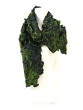 Velvet Flower Petal Print & Pleats Scarf in Moss Green by Yuh Okano (Velvet Scarf)