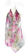 Mini Floral Organza Scarf in Astragalus Pink by Yuh Okano (Silk Scarf)