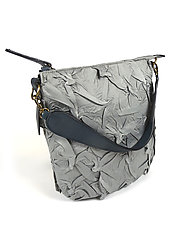 Flat Zipper Bubble Dot Bag in Gray by Yuh  Okano (Shibori Purse)