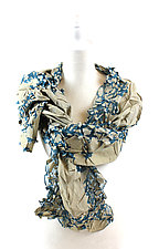 Flower Petal Print & Pleats Scarf in Dove & Emerald by Yuh Okano (Cotton Scarf)