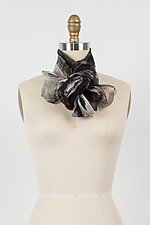 Hand Painted Project Scarf in Black/Gray/White by Yuh  Okano (Silk Scarf)