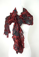 Velvet Flower Petal Print & Pleats Scarf in Red & Black by Yuh Okano (Velvet Scarf)