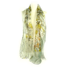 Mini Floral Organza Scarf in Wisteria Yellow by Yuh Okano (Silk Scarf)