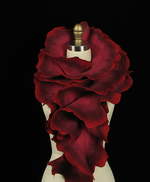 Large Rose Scarf: Raspberry, Burgundy, and Red