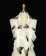 Ecru Bridge Scarf with Black Tips by Jenne Giles  (Silk & Wool Scarf)