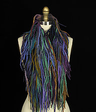 Fringe Pelt in Blue, Purple, Gold, and Aqua by Jenne Giles  (Silk & Wool Scarf)