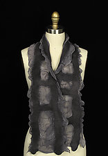 Ladder Scarf in Steel Gray by Jenne Giles  (Silk & Wool Scarf)