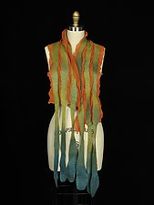 Long River Scarf in Orange, Green, Aqua by Jenne Giles  (Silk & Wool Scarf)