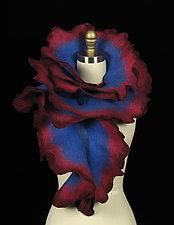 Large Rose Scarf: Blue, Raspberry, Burgundy by Jenne Giles  ()
