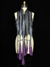 Long River Scarf in Gray, Purple, Blue by Jenne Giles  (Silk & Wool Scarf)