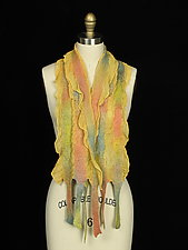 River Scarf in Sunny Yellow and Peach by Jenne Giles  (Silk & Wool Scarf)