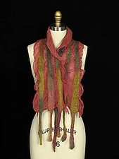 River Scarf in Rose and Gold by Jenne Giles  (Silk & Wool Scarf)