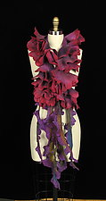 Unique Raspberry Flower Scarf with Purple Tendrils by Jenne Giles  (Silk & Wool Scarf)
