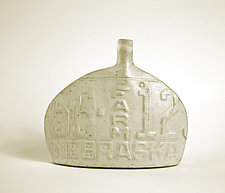 Nebraska Farm License Plate Bottle by Susan Wills (Ceramic Vessel)
