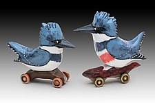 Belted Kingfishers by Dona Dalton (Wood Sculpture)