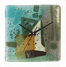 Rushing Water Clock by Nina  Cambron (Art Glass Clock)