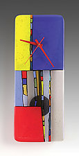 Primary Colors Pendulum Clock by Nina  Cambron (Art Glass Clock)