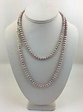 Pink Pearl Strand by Rina S. Young (Silver & Pearl Necklace)
