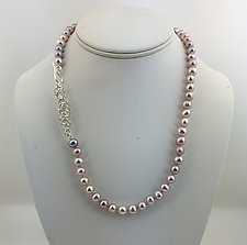Shades of Pink by Rina S. Young (Silver & Pearl Necklace)