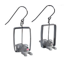 Gray Dog Earrings by Kristin Lora (Silver Earrings)