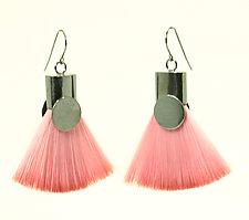 Pink Brush Earrings by Kristin Lora (Silver Earrings)