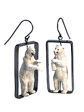 Standing Polar Bears by Kristin Lora (Silver Earrings)