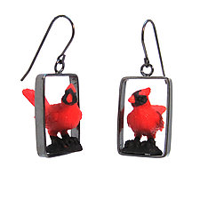 Cardinal Earrings by Kristin Lora (Silver Earrings)