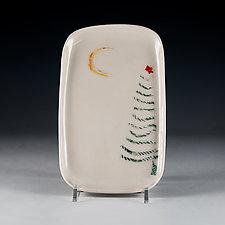 Christmas Tree Porcelain Tray by Carol Barclay (Ceramic Tray)
