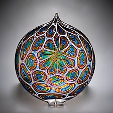 Aqua, Gold, and Hyacinth Ellipse by David Patchen (Art Glass Sculpture)