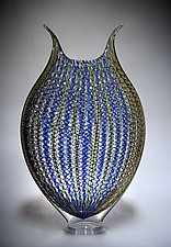 Gold and Cobalt Zanfirico Foglio by David Patchen (Art Glass Vessel)