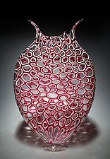 Gold Ruby Cellular Foglio by David Patchen (Art Glass Vessel)