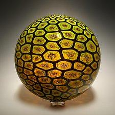 Honeycomb Sphere by David Patchen (Art Glass Sculpture)