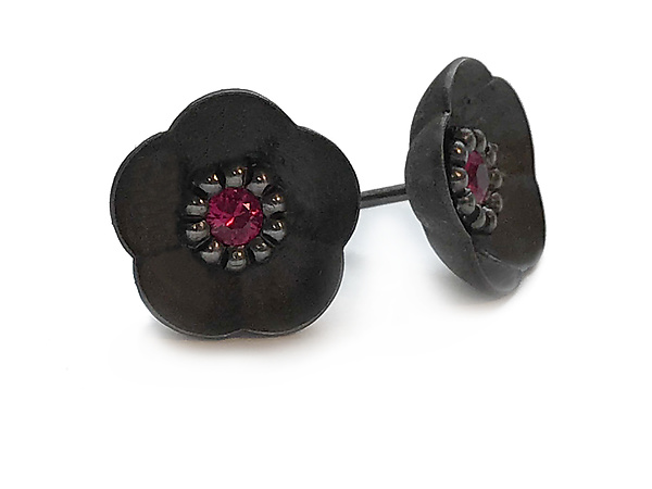 Cherry Blossom Stud Earrings in Blackened Silver with Rubies